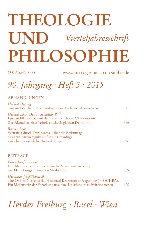 Theologie und Philosophie. Vierteljahresschrift 90 (2015) Heft 3