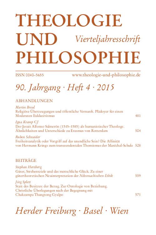 Theologie und Philosophie. Vierteljahresschrift 90 (2015) Heft 4