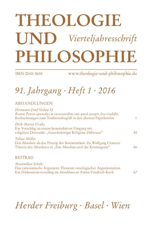Theologie und Philosophie. Vierteljahresschrift 91 (2016) Heft 1
