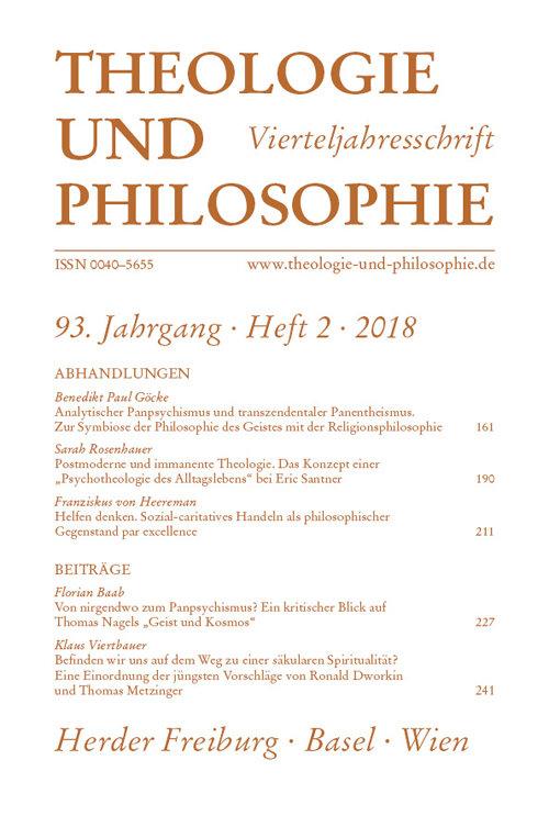 Theologie und Philosophie. Vierteljahresschrift 93 (2018) Heft 2
