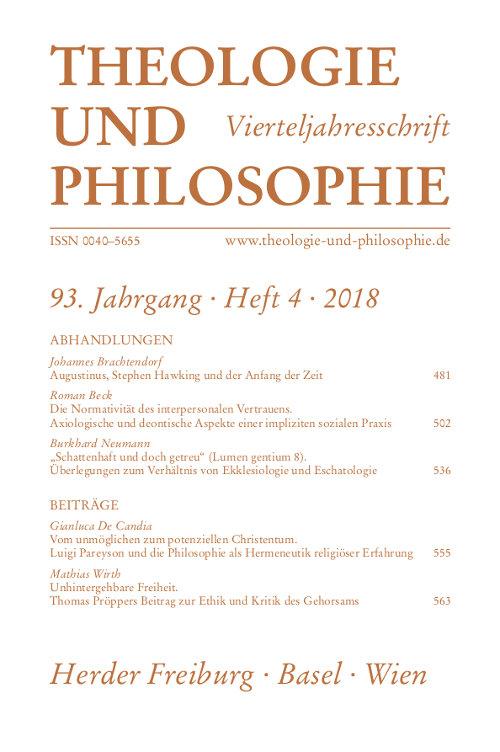 Theologie und Philosophie. Vierteljahresschrift 93 (2018) Heft 4