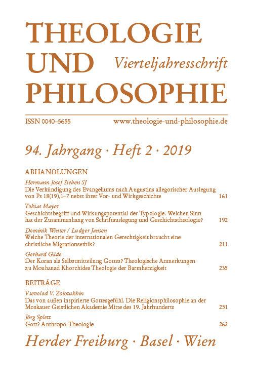 Theologie und Philosophie 2/2019