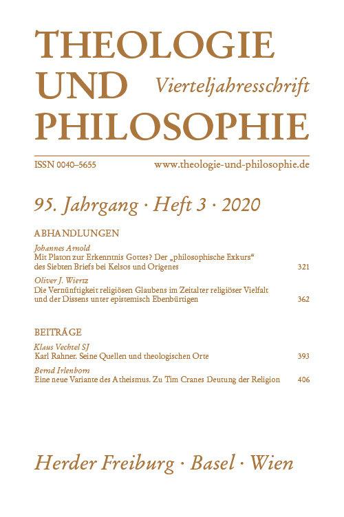 Theologie und Philosophie. Vierteljahresschrift 95 (2020) Heft 3